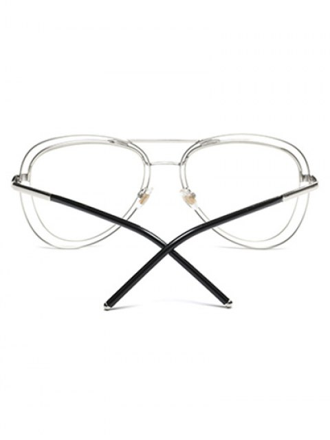 sale Double Rims Transparent Lens Pilot Sunglasses - SILVER  Mobile
