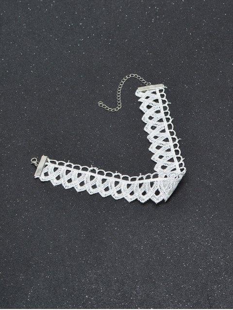 online Vintage Lace Geometric Choker - WHITE  Mobile