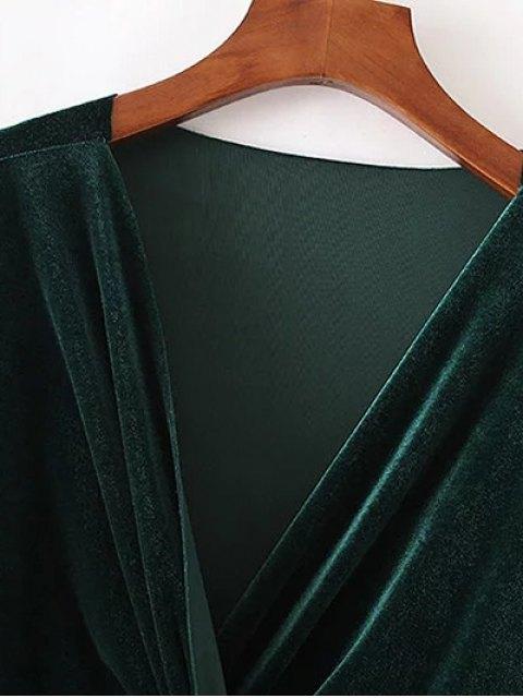 outfit Twist Front V Neck Velvet Dress - DARK GREEN M Mobile