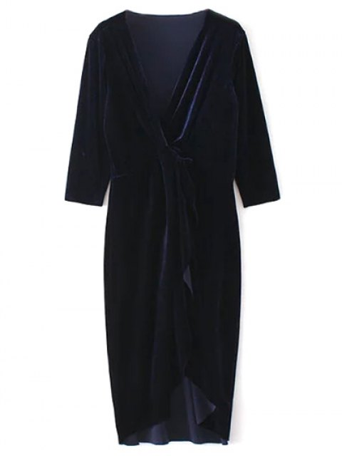 shops Twist Front V Neck Velvet Dress - PURPLISH BLUE M Mobile