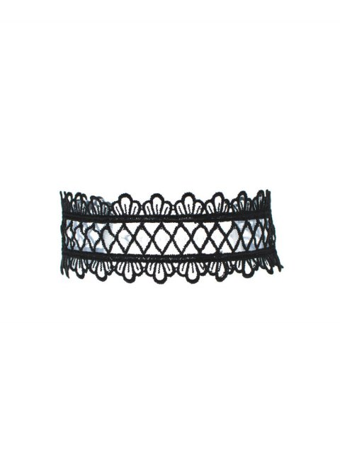 latest Vintage Lace Crown Geometric Choker - BLACK  Mobile