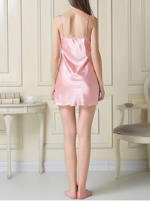 buy Silky Slip Dress and Robe - PINK XL Mobile