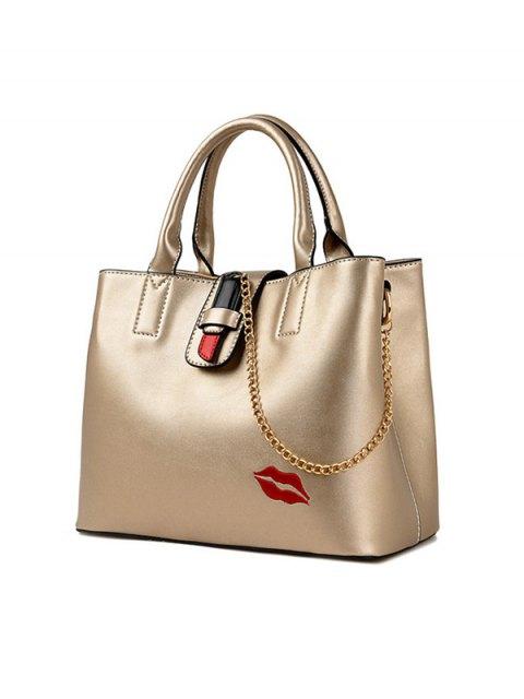 hot Chains Embroidered Lip Handbag -   Mobile