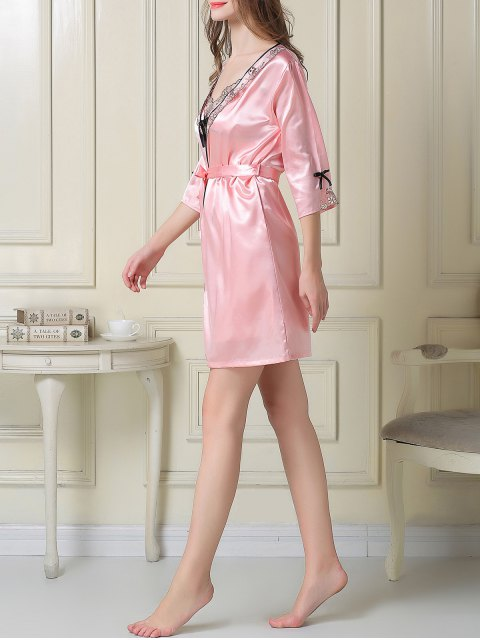outfits Satin Slip Dress and Sleep Robe - PINK 2XL Mobile