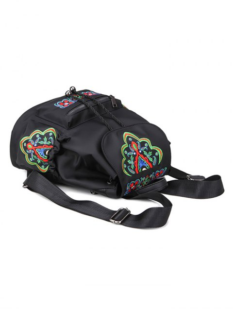 lady Nylon Embroidered Backpack - BLACK  Mobile