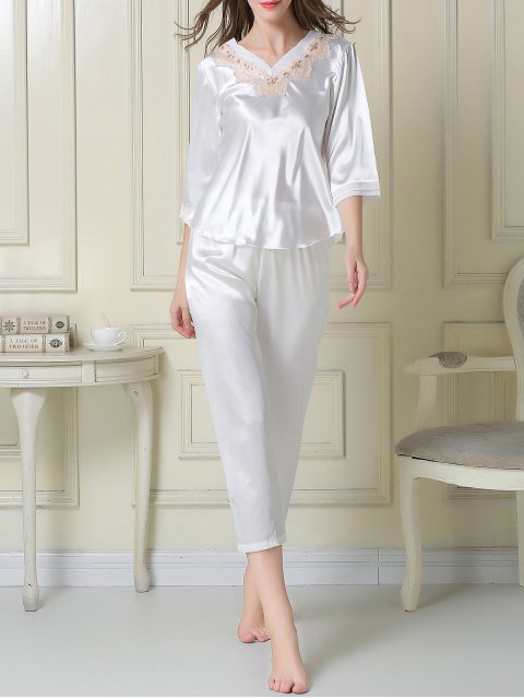 ladies Satin Tee and Capri Pants Pajama - WHITE M Mobile