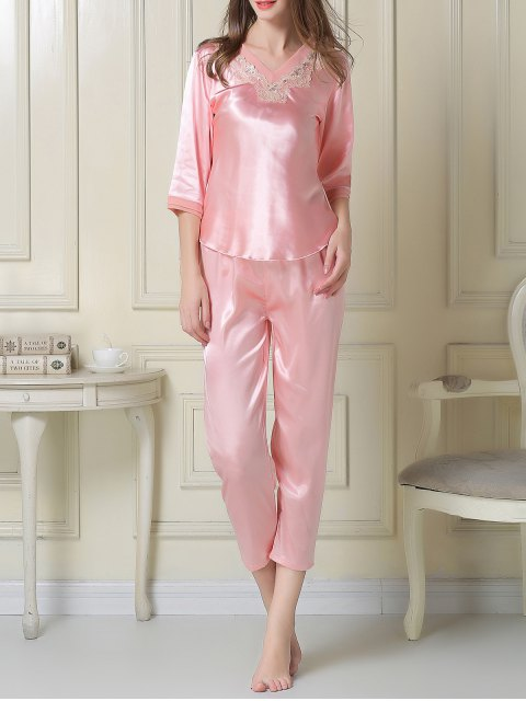 online Satin Tee and Capri Pants Pajama - PINK L Mobile