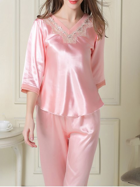 lady Satin Tee and Capri Pants Pajama - PINK 2XL Mobile