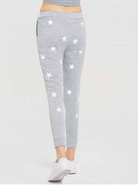 shop Skinny Star Print Sports Pants - GRAY M Mobile