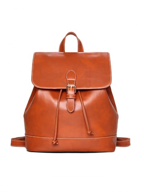 best Buckle Strap Backpack With Crossbody Bag - BROWN  Mobile