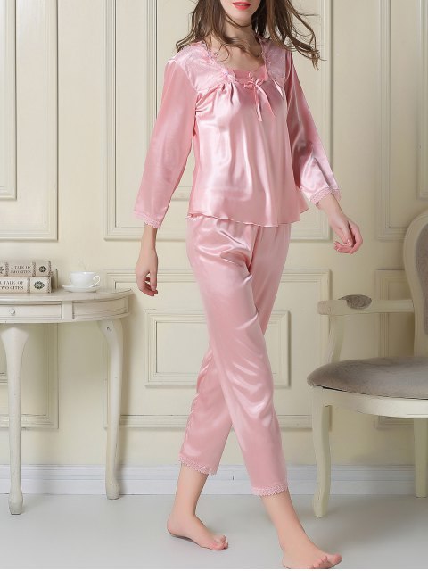 lady Embroidered Satin Tee and Capri Pants Pajama - PINK L Mobile