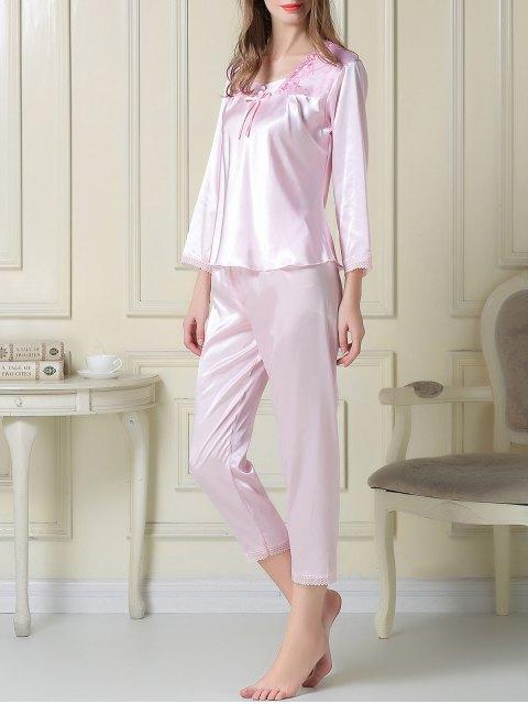 outfits Embroidered Satin Tee and Capri Pants Pajama - LIGHT PINK 2XL Mobile