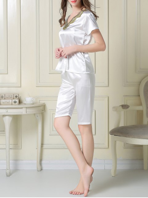 chic Embroidered Neckline Satin Tee and Shorts Pajama - WHITE L Mobile
