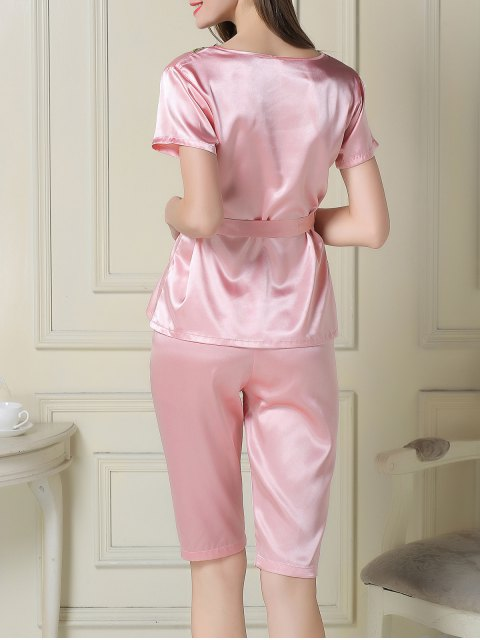 buy Embroidered Neckline Satin Tee and Shorts Pajama - PINK M Mobile