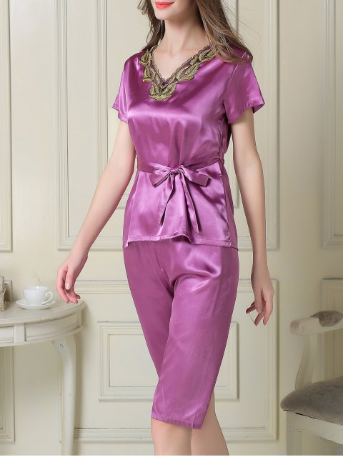 women Embroidered Neckline Satin Tee and Shorts Pajama - PURPLE XL Mobile