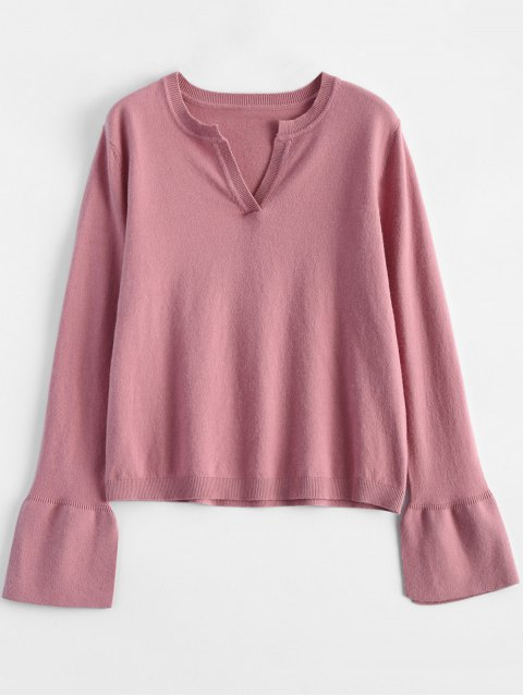 ladies Slimming Flare Sleeve Knitwear - PINK ONE SIZE Mobile