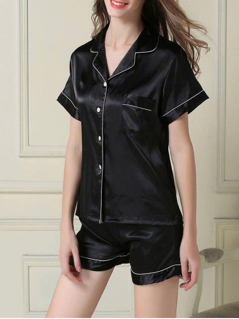 hot Short Sleeve Satin Boxer Pajama - BLACK 2XL Mobile