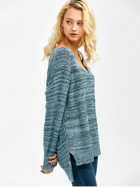 women's Side Slit Heathered Sweater - BLUE ONE SIZE Mobile