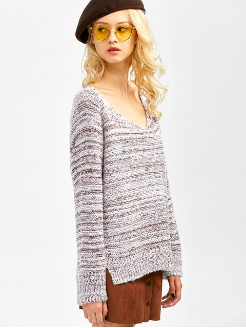 ladies Side Slit Heathered Sweater - BURGUNDY ONE SIZE Mobile