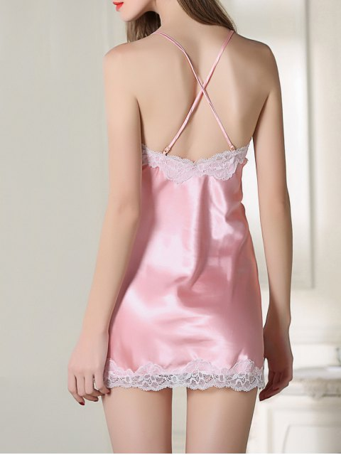 women's Strappy Satin Slip Sleep Dress - PINK L Mobile