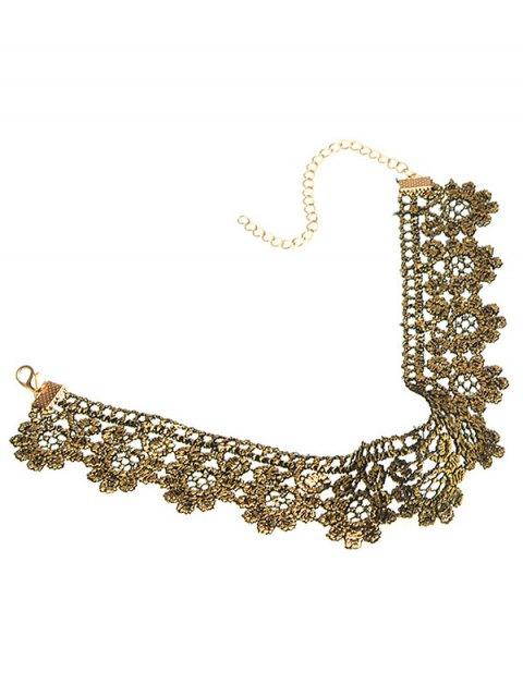 fashion Flower Wide Choker - GOLDEN  Mobile