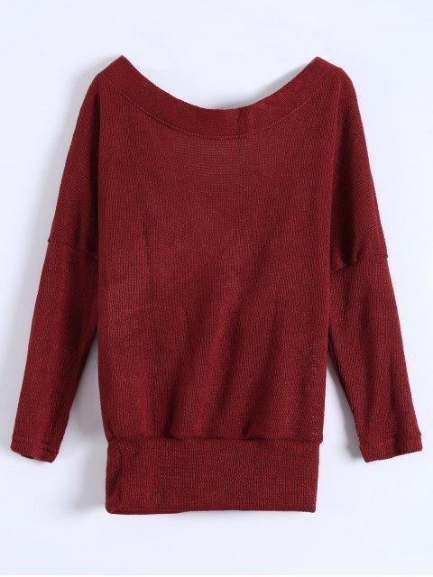 sale V Neck Cozy Sweater - BURGUNDY L Mobile