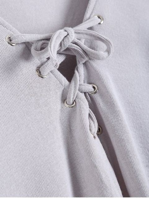 hot Long Sleeves Asymmetric Hem Tee - GRAY XL Mobile