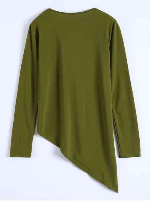 latest Long Sleeves Asymmetric Hem Tee - ARMY GREEN L Mobile