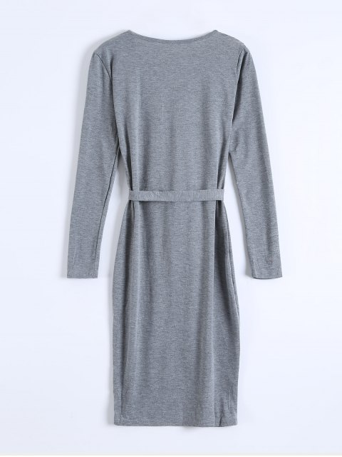 shops Single-Breasted Belted Bodycon Dress - GRAY XL Mobile