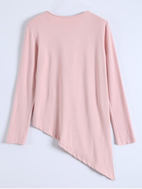 best Long Sleeves Asymmetric Hem Tee - PINK L Mobile