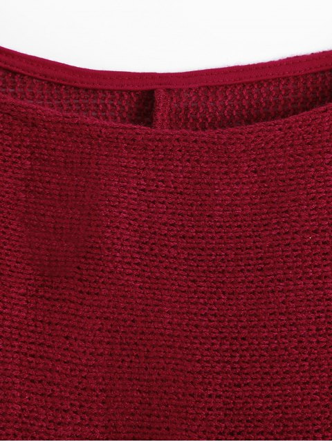 ladies Slash Neck Pullover Sweater - BURGUNDY L Mobile