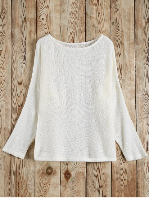 outfit Slash Neck Pullover Sweater - WHITE S Mobile