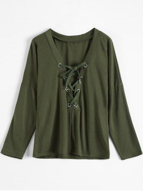 T-shirt lacé haut à manches longues col plongeant - Vert Armée S Mobile