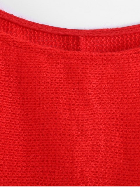 fashion Slash Neck Pullover Sweater - RED L Mobile