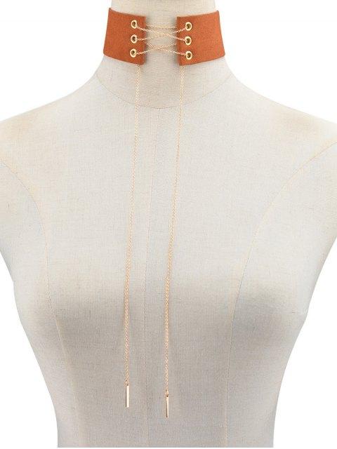 affordable Velvet Lace Up Choker - BROWN  Mobile