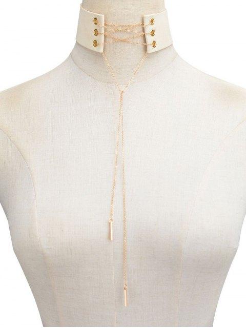 buy Velvet Lace Up Choker - OFF-WHITE  Mobile