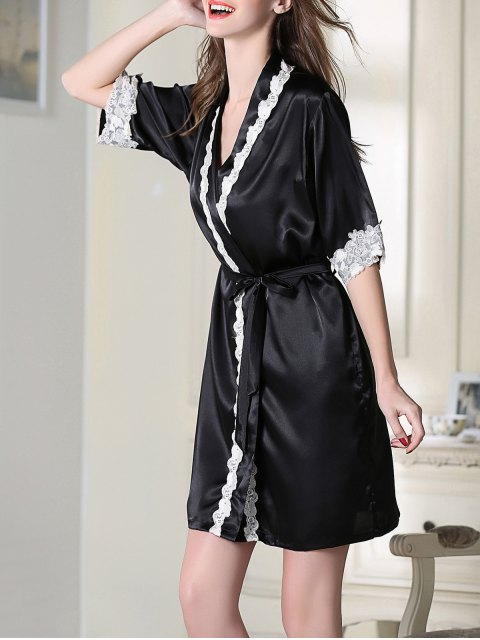 sale Satin Cami Top and Shorts and Sleep Robe - BLACK XL Mobile