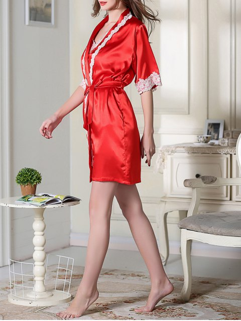 fancy Satin Cami Top and Shorts and Sleep Robe - RED M Mobile