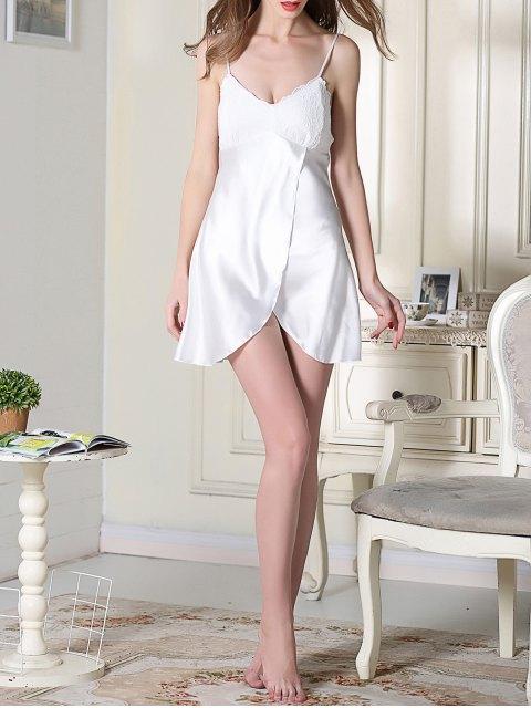 best Lace Satin Slip Sleep Dress - WHITE XL Mobile