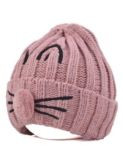 Cat Beard Pom Ball Stripy Beanie - PINK  Mobile