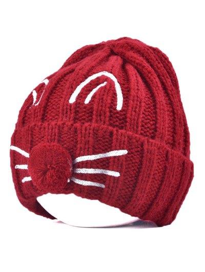 Cat Beard Pom Ball Stripy Beanie - WINE RED  Mobile
