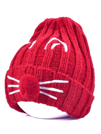 Cat Beard Pom Ball Stripy Beanie - RED  Mobile