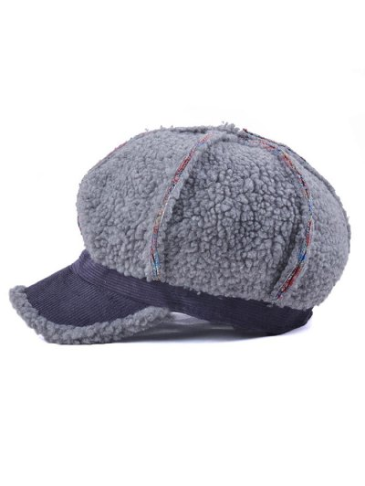 Striped Flocking Curved Brim Hat - GRAY  Mobile