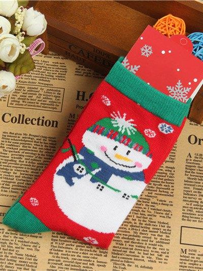 Pair of Knitted Snowmen Jacquard Socks - RED  Mobile