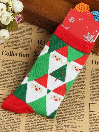 Pair of Knitted Christmas Diamond Jacquard Socks - GREEN  Mobile