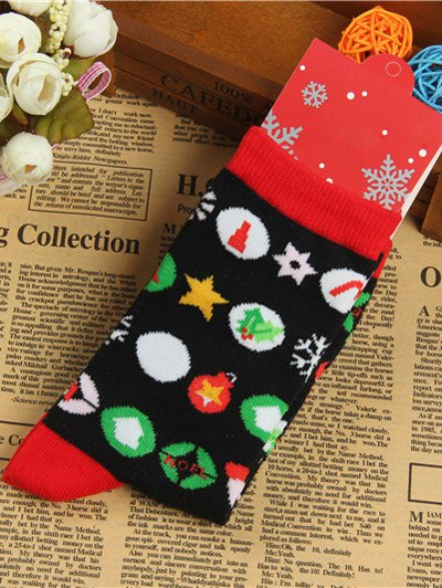 Pair of Round Jacquard Christmas Knitted Socks - BLACK  Mobile