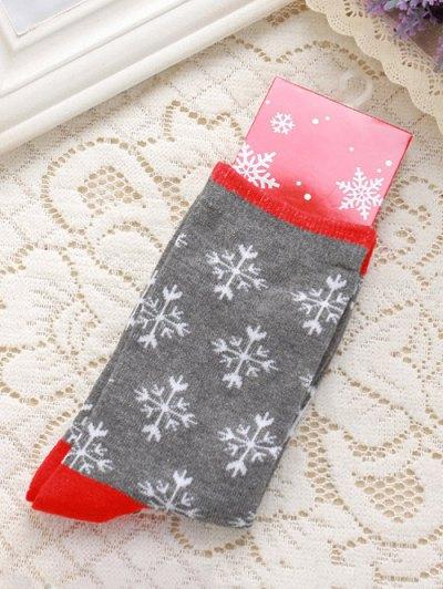 Pair Of Snowflakes Jacquard Christmas Knitted Socks - Gray