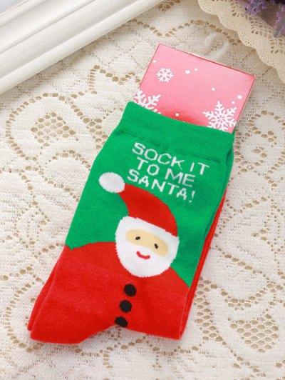 Pair Of Letter Jacquard Christmas Knitted Socks - Red
