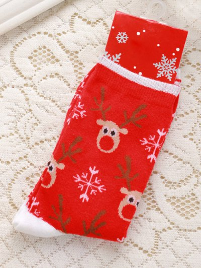 Pair of Deer Jacquard Christmas Knitted Socks - RED  Mobile