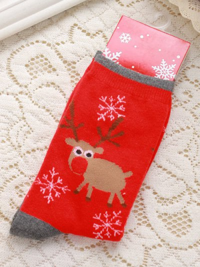 Pair Of Knitted Deer Snowflakes Jacquard Christmas Socks - Red